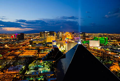Las Vegas NV With Luxor In The Forground